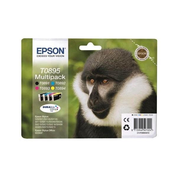 Epson T0895 - Pack de 4 cartouches Epson T0891 T0892 T0893 T0894 couleur (singe)