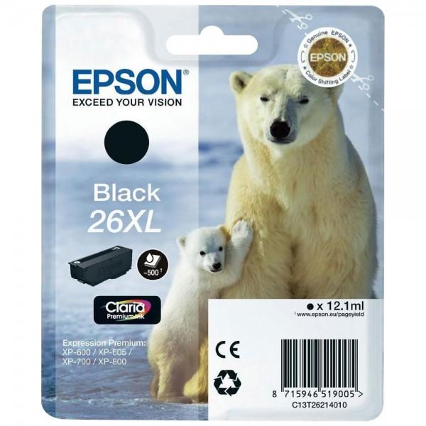 Epson T2621 - Cartouche d'encre Epson T2621 - Serie 26XL (ours polaire) - Noir (500 pages)