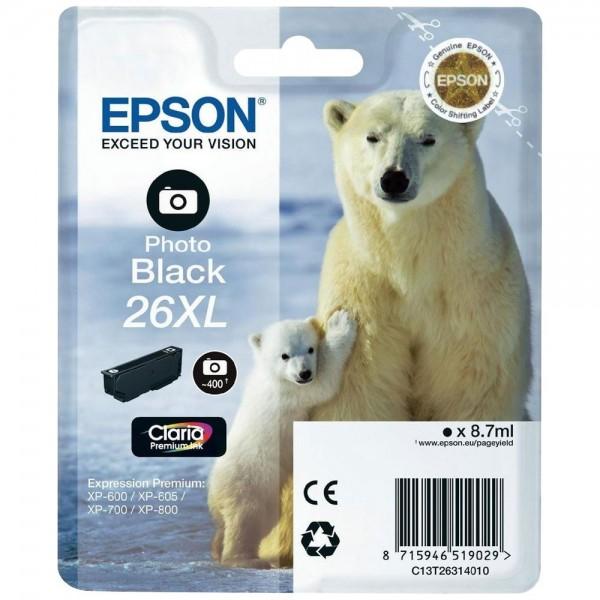 Epson T2631 - Cartouche d'encre Epson T2631 - Serie 26XL (ours polaire) - Photo noir (400 pages)