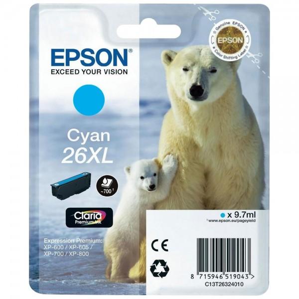 Epson T2632 - Cartouche d'encre Epson T2632 - Serie 26XL (ours polaire) - Cyan (700 pages)