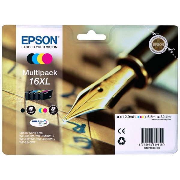 Epson T1636 - Multipack Epson 16XL (4 cartouches) - Serie Stylo Plume
