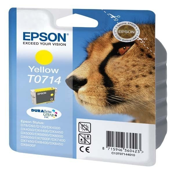 T0714 -Cartouche d'encre Epson T0714 - Encre jaune DURABrite Ultra 5,5ml - Guépard
