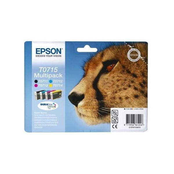 T0715 - Epson T0715 - Pack de 4 cartouches Epson T0711 T0712 T0713 T0714 (guépard)