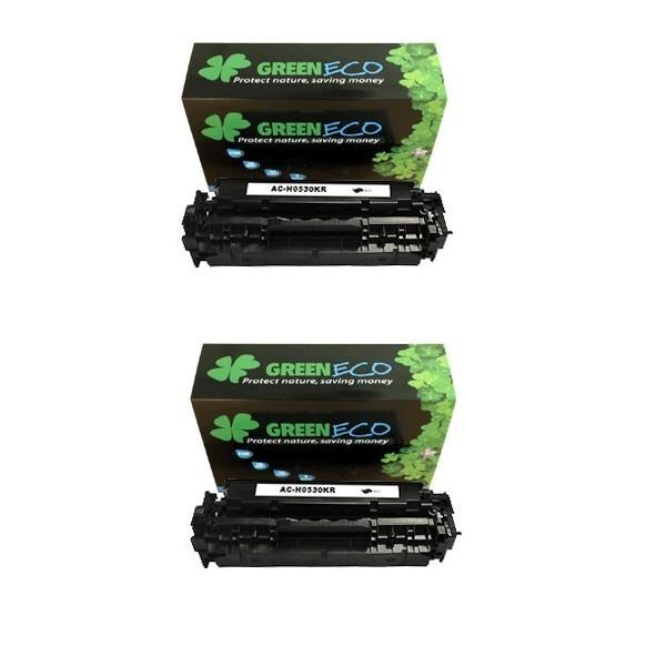 CC530AD - 304AD - Lot de 2 Toner generique equivalent au modele HP CC530AD noir