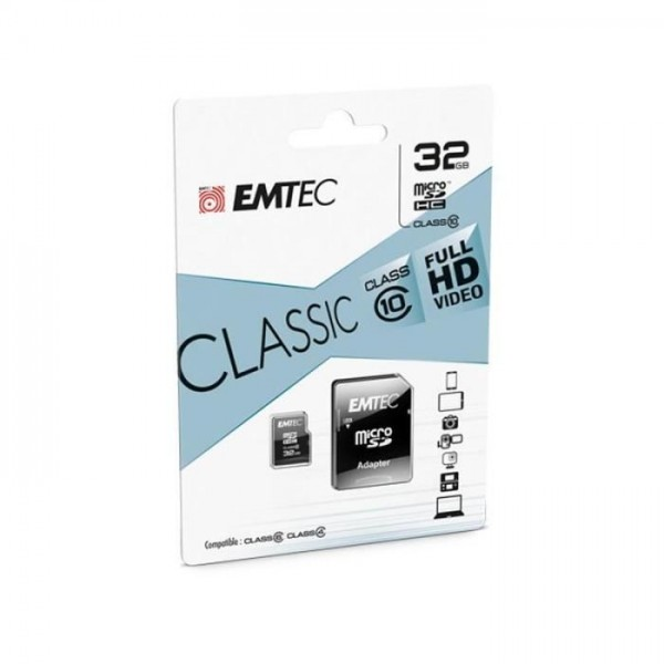 MicroSDHC 32Go EMTEC +Adaptateur CL10 CLASSIC