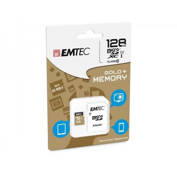MicroSDXC 128Go EMTEC +adaptateur CL10 Gold+ UHS-I 85MB/s