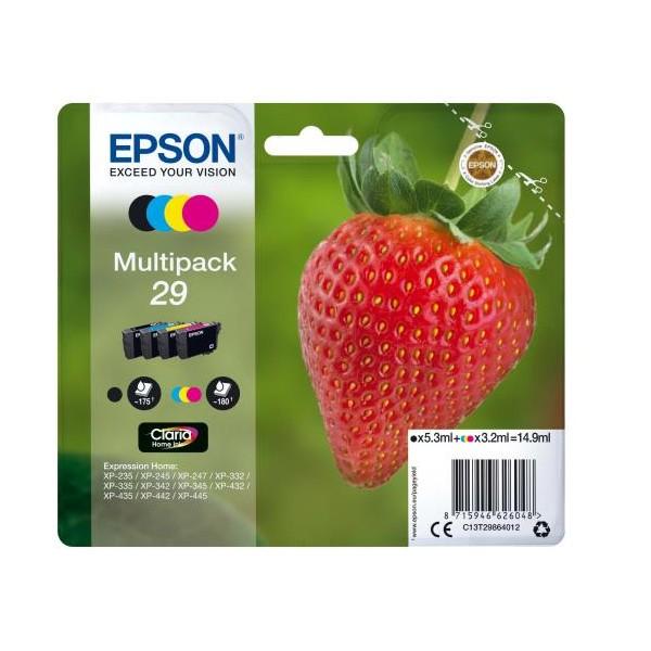 EPSON T2986 - Pack 4 Cartouches d'encre Epson T29 Fraise noir,cyan, magenta, jaune
